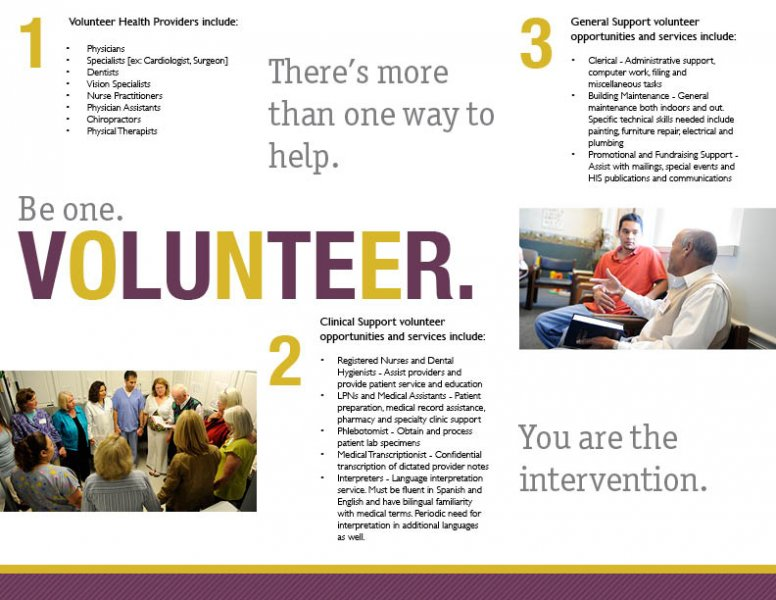 volunteer brochure template - health intervention services william i overbeeke